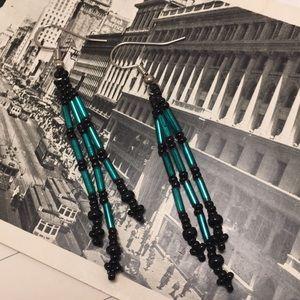 80's Beaded Dangle Earrings